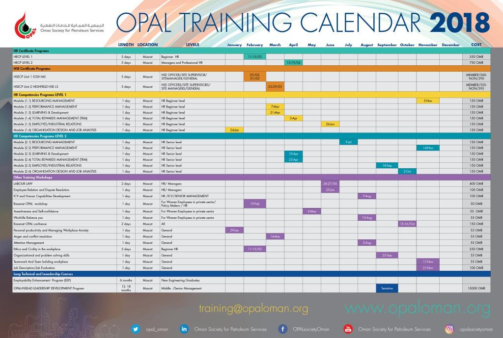 Training Calendar 2018